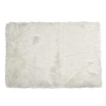 "60"" x 36"" Off White Rectangular Faux Fur - Area Rug"
