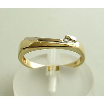 Gold bicolor ring with diamond