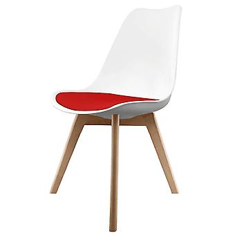 Fusion Living Eiffel Inspired White And Red Dining Chair With Squared Light Wood Legs