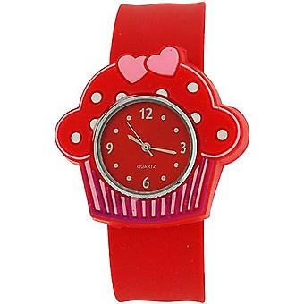 Kids - Girls Analogue Cupcake Red Dial & Red Slap On Casual Watch