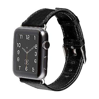 44mm,42mm pour Apple Watch Series 1,2,3 et 4 Genuine Leather Strap Black