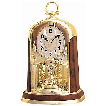 Rytm 7713/20 Bordsklocka Kvarts analog med roterande pendel gyllene med trä utseende