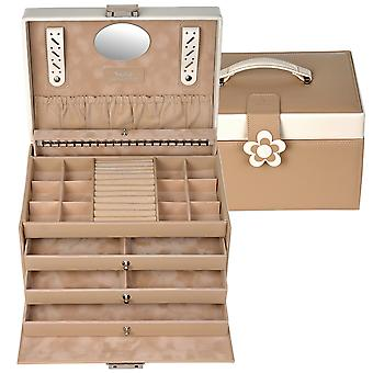 Sacher jewelry case jewelry box BELLA FIORE Brown lockable drawers