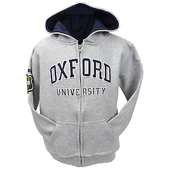 Ou129 licensed kids zipped oxford university™ hooded sweatshirt grey
