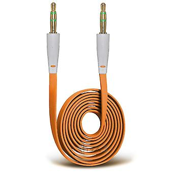 AUX-Kabel, Platt - 100cm (Orange)