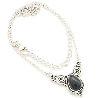Onyx Necklace 925 Silver Sterling Silver Necklace Black (MCO 09-03)