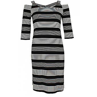 Yest Striped Cold Shoulder Dress