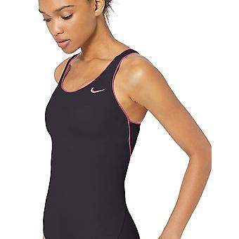 Nike Swim Women's Solid Powerback One Piece Swimsuit, Monsoon, Black, Size