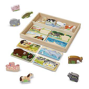 Melissa & Doug Picture Puzzle styrelser med Chunky trä djur spela bitar