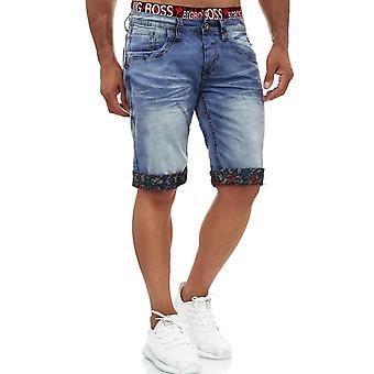 Jaylvis Men's Farkut Shortsit Lyhyet venytys housut Bermuda Käytetty Kesä Print Design