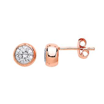 Jewelco London Ladies Rose Gold-Plated Sterling Silver Cubic Zirconia Rosey Donut Solitaire Stud Earrings