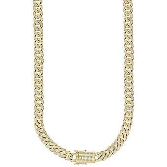 925 Sterling Ezüst Sárga Tónusos Férfi CZ Cubic Cirkónia szimulált Diamond Miami Curb Chain 12mm 24 Inch Ékszer Ajándékok