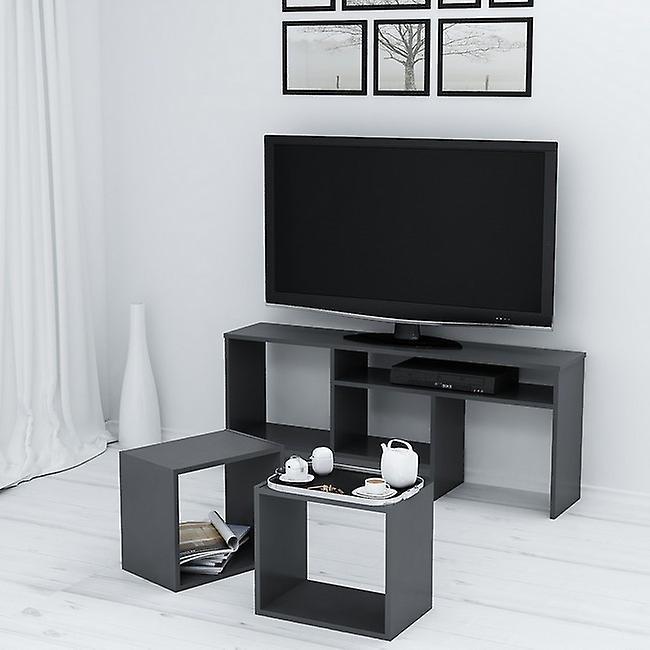 Mobile Porta TV Kasa Colore Antracite in Truciolare Melaminico, L141xP29,5xA57cm