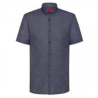 هوغو هوغو بوس إمبسون قصيرة الأكمام المطبوعة قميص البحرية 413 50426485