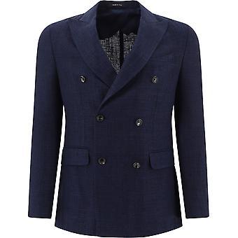 Pulito 1390doppiopetto36 Men's Blue Silk Blazer