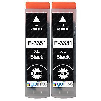 2 Schwarze Tintenpatronen als Ersatz für Epson T3351 (33XL-Serie) Kompatibel/Nicht-OEM von Go-Tinten