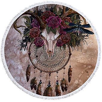 جمجمة الماعز ومنشفة شاطئ الورود