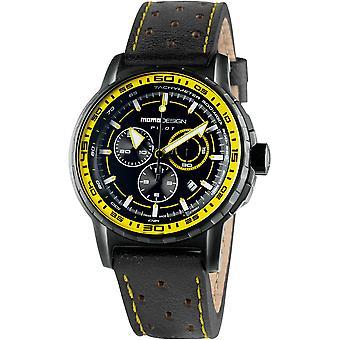 MOMO Design Pilot Watch MD2164BK-52 - Leather Gents Quartz Chronograph