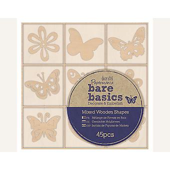 45 Mini Butterfly & Flower Wooden Embellishments for Papercrafts