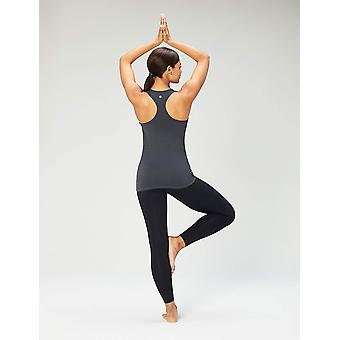 Marca - Core 10 Mujeres's Yoga Fitted Racerback Tank, gris oscuro, Medio