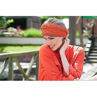 Hoofdwraps voor kankerpatiënten - Daisy Taupe Orange Savana