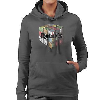 Rubiks färgglada ritade kub kvinnors Huvtröja