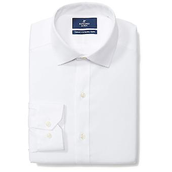 "BUTTONED DOWN Men's Tailored Fit Spread-Collar Solid Non-Iron Dress Shirt (No Pocket), White, 15"" Neck 34"" Sleeve"