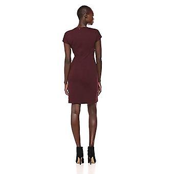 Merk - Lark & Ro Women's Cap Sleeve Faux Wrap Sheath Dress, Burgundy, 8
