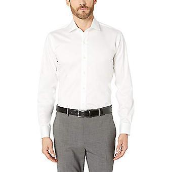 "BUTTONED DOWN Men's Slim Fit Spread-Collar Micro Twill Non-Iron Dress Shirt, White, 14.5"" Neck 32"" Sleeve"