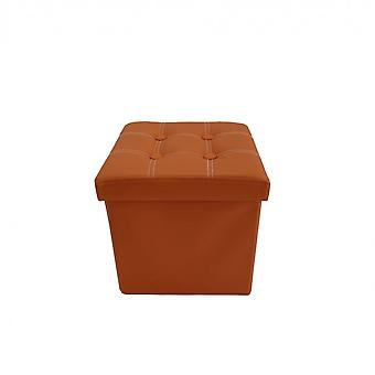 Rebecca Furniture Pouf Container Cube Ecopelle Orange Space Saver 29x31x31