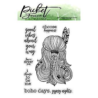 Picket Fence Studios Boho Gypsy Girl tydliga frimärken