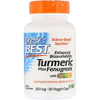 Doctor's Best, Enhanced Bioavailability Turmeric Plus Fenugreek, 500 mg, 90 Vegg