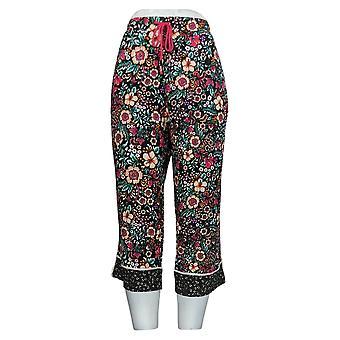 Cuddl Duds Women's Petite Pajama Pants Printed Cropped Pant Black A373982