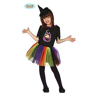 Guirca colorful child witch with Tutu dress Halloween witch costume Carnival Walpurgis night