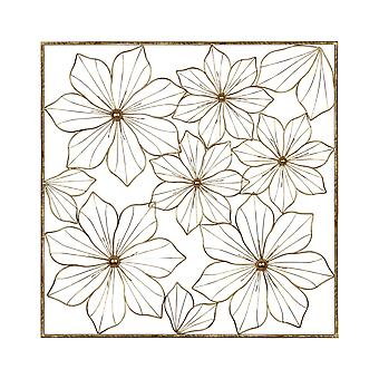 Floral Metal Wall Decor with Golden Finish