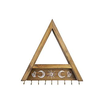 Triangle Natural Wooden Shelf with Hooks