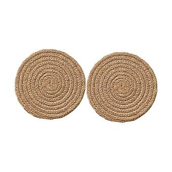 2PCS Placemats Pure Cotton Round Place Mats Iută Culoare