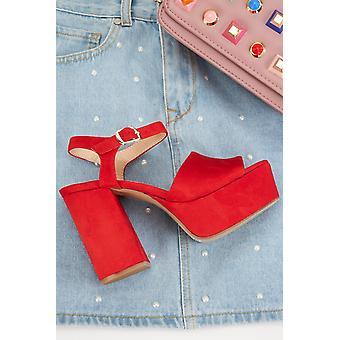 Block Heel Suedette Shoes 681280