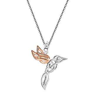 Heritage Sterling Silver Celtic Creatures Hummingbird Rose Gold Plate Pendant 9253RG