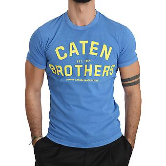 Blue Cotton Logo Motive Print Crewneck Mens Top T-shirt -- TSH3931760