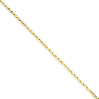 14k Yellow Gold Solid Polished Lobster Claw Closure 1.25mm Spiga Chain Bracelet - Length: 6 to 7
