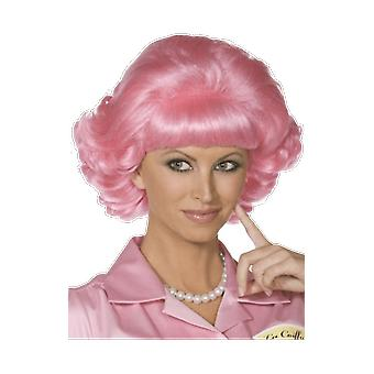 Kvinners fett Frenchy Wig Pink Ladies Fancy Dress kostyme tilbehør