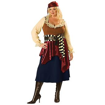 Womens Plus Size Buccaneer Pirate Caribbean Fancy Dress Costume