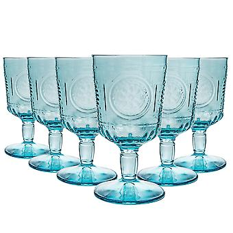 Bormioli Rocco Romantic Wine Glasses Set - Vintage Italian Cut Glass Goblets - 320ml - Blue - Pack of 12
