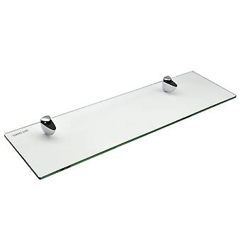Glass Bathroom Shelf With Chrome Fixings - Tempered Glass - 50cm - Pack Of 2
