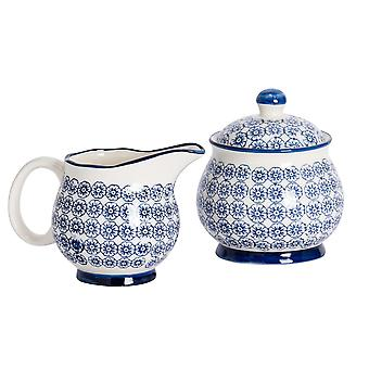 Nicola Spring 2 Piece Hand-Printed Milk Jug and Sugar Bowl Set - Japanese Style Porcelain Kitchen Storage Pots - Navy