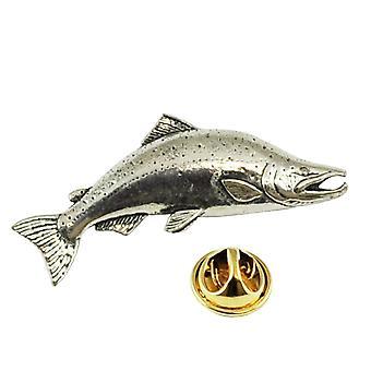 Ties Planet Large Salmon Fish Pewter Lapel Pin Badge
