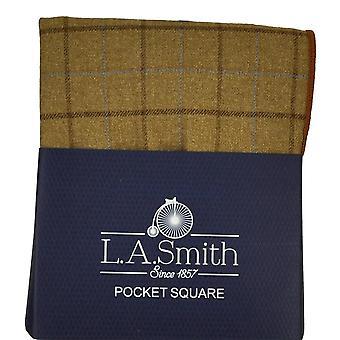 Solmiot Planet Beige, Ruskea & Sininen Tarkistettu Kuviollinen Tweed Pocket Square Nenäliina