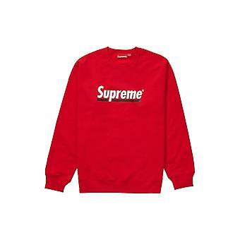 Supreme Underline Crewneck Red - Clothing
