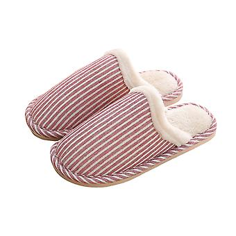 Thick  Comfortable Soft Warm Stripped Couple Slippers-female